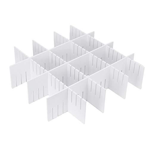NICEXMAS 5 stücke Schubladeneinsätze Einstellbare Kunststoff Schublade Divider Haushalt Lagerung Spacer Schubladenschrank Grid Divider für Make-Up Socken Unterwäsche 47x13 cm (Weiß)