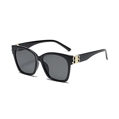WGH Gafas de Sol Gafas de Sol polarizadas para Hombres y Mujeres Gafas de Sol Lente de Gran tamaño UV Bloqueo de Gafas de Sol clásicas Gafas al Aire Libre (Color : Black)