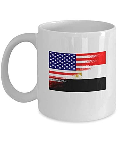 N\A Taza de café Blanca egipcia con Bandera egipcia de EE. UU. De 11 oz, Taza de té