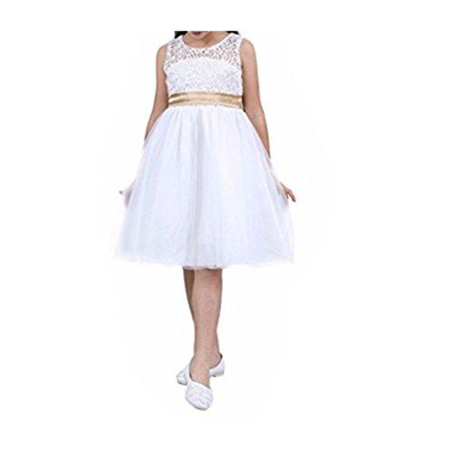 TiaoBug Vestido Largo de Fiesta Ceremonia Bautizo Encaje Floreado para Niña (2 a 12 Años) Vestido Encaje de Noche Princesa Elegante Blanco 12 Años