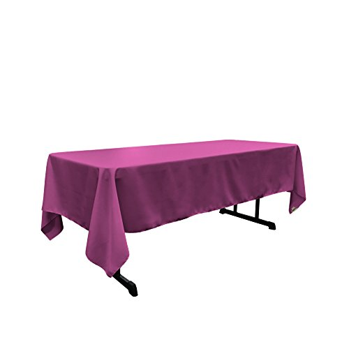 LA Linen Polyester Poplin Rectangular Tablecloth, 60 by 120-Inch, Magenta