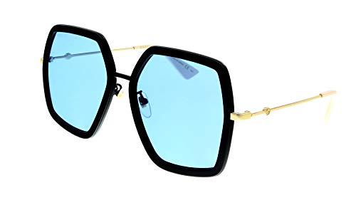 Gucci GG0106S 011 - Gafas de sol hexagonales para mujer, color dorado y negro