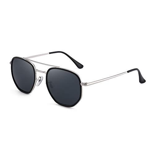 GLINDAR Gafas de Sol de Aviador Retro Pequeñas Para Hombres y Mujeres, Marco de Puente Doble Vintage Gris