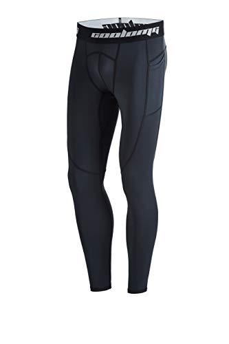coolomg Hombre juvenil Compression Mallas Para Entrenamiento de Fútbol con bolsillos Quick Dry, hombre, color Schwarz( lange Hose), tamaño L (Taille: 76cm)