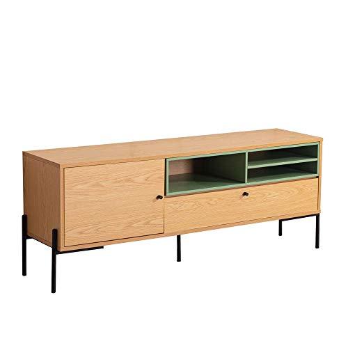 Amazon Marke - Movian TV-Tisch mit 1 Schublade, 155 x 40 x 60 cm, Eichenoptik, Pastellblau lackiert