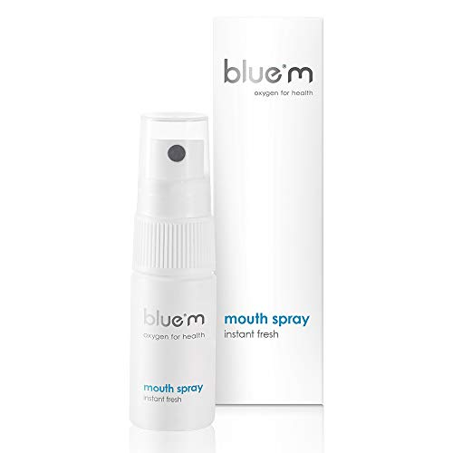 BlueM Mouth Spray - Breath Freshener - 15ml - for Bad Breath - Instant Freshness - with Active Oxygen - Fluoride Free