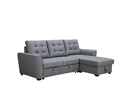 MUEBLIX.COM | Sofa Cama 3 Plazas Chaiselongue Intercambiable Taylor | Sofas de Salón Modernos | Asientos y Respaldo Espuma | Sofa con Estructura de Madera y Patas Metal (Gris)