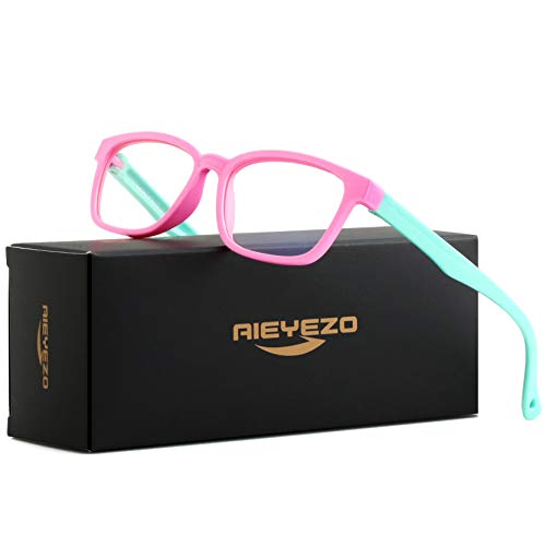 Kids Blue Light Blocking Glasses Silicone Flexible Square Eyeglasses Frame with Glasses Rope, for Children Age 3-10 (Pink/Blue)