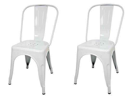La Silla Española - Pack 2 Sillas estilo Tolix con respaldo. Color Blanco. Medidas 85x54x45,5