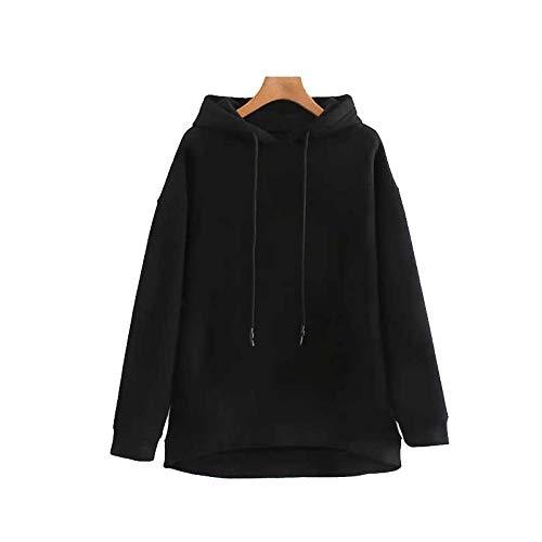Moda Sudaderas Jersey Sweater Mujeres Vintage Elegantes Sudaderas Sólidas De Gran Tamaño Moda Ajustable con Capucha Manga Larga Suelta Jerseys Femeninos Elegantes Tops S Negro