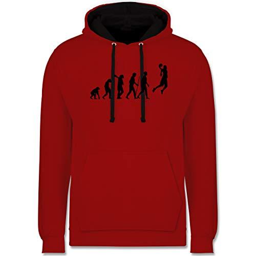 Entwicklung und Evolution Outfit - Basketball Evolution - XXL - Rot/Schwarz - Basketball Tshirts - JH003 - Hoodie zweifarbig und Kapuzenpullover für Herren und Damen