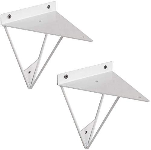 Vintage planken, geometrische multifunctionele wandbevestigingen voor zwevende planken - DIY driehoek ontwerp planken - ijzer, 2 stuks (wit/zwart/goud)
