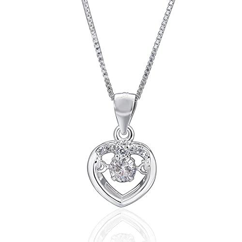 xu Collar de Cadena Corta de clavícula de Diamante con Colgante de Amor Inteligente a la Moda, joyería de Plata para Mujer