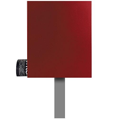 Standbriefkasten mit Zeitungsfach rubin-rot (RAL 3003) Mocavi Sbox 111b Briefkasten mit Pfosten (einbetonieren) freistehend
