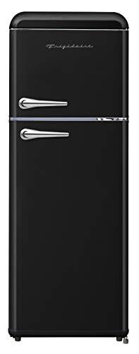 FRIGIDAIRE EFR756-BLACK EFR756, 2 Door Apartment Size RETRO Refrigerator with Top Freezer, Chrome Handles, 7.5 cu ft, Black