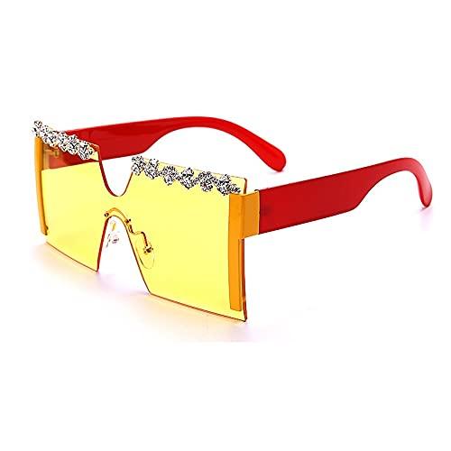AMFG Gafas De Sol Sin Montura De La Moda Cuadrada Tendencia Unisex Gafas De Sol Gafas De Conducción Gafas (Color : F)