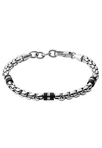 Fossil JF03313040 Herren Armband Silber Schwarz 22 cm