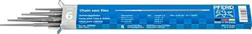 PFERD Kettensägefeilen, 6 Stück, rund, 200mm x 5,16mm, Spiralhieb, Premium Line, 11040203 – für das manuelle Schärfen von Sägeketten