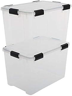 Iris Ohyama, Lot de 2 Boîtes de Rangement / Caisses de Rangement Hermétiques - Air Tight Box - AT-LD, Plastique, Transpare...