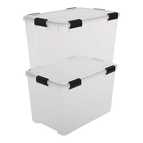 Iris Ohyama, juego de 2 cajas herméticas de almacenamiento / cajas de aire - Caja hermética - AT-LD, plástico, transparente, 70 L, 59 x 39 x 38 cm