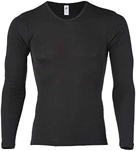 Engel Natur Camiseta interior de manga larga para hombre, lana y seda, talla 46-56 Negro 48/50 ES
