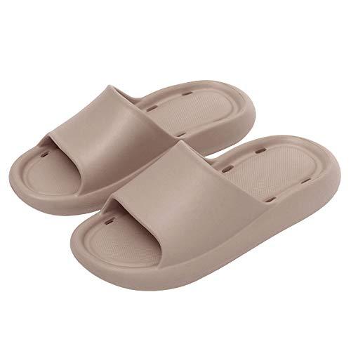 Vertvie Unisex Badeschuhe Slippers Hausschuhe Dusch Pantoletten rutschfest Einfarbrig Flip Flops Indoor Outdoor Badeschlappen Atmungsaktive Schwimmen schuhe für Herren Damen(Khaki,42-43)