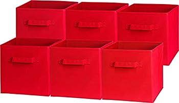 6 Pack - SimpleHouseware Foldable Cube Storage Bin Red