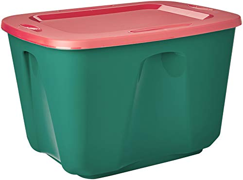 Homz Holiday Plastic Storage Tote Box, 18 Gallon, Stackable, 8-Pack (Color combination may vary)