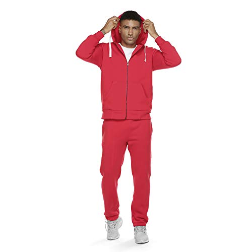 R Rambler Tracksuit Men,Casual Outfit Hooded Jacket Sweatsuits for Men Jogging Suits Sets with 2 Pieces (Red, M)