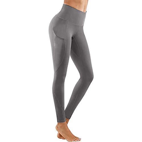 Xniral Schnelltrocknende Einfarbige Yogahose für Damen Strecken Hohe Taille Leggings mit Handytasche Workout Fitness Laufhose(a-Grau,XS)