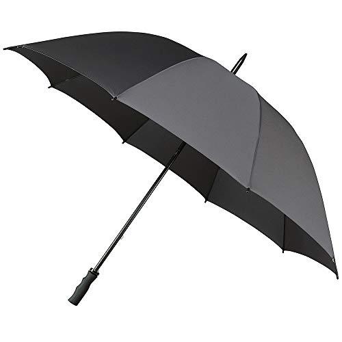 Impliva Golf heren paraplu met handmatige opening, 8 balken van onbreekbaar glasvezel, extreem windbestendig, grote bescherming met 100 cm diameter, grijs