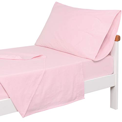 TILLYOU 3-Piece Flannel Cotton Toddler Sheet Set for Boys Girls (Fitted Mattress Sheet, Flat Sheet, Envelope Pillowcase), Plush and Warm Baby Bedding Sheet & Pillowcase Set, Pink