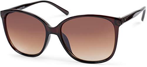 styleBREAKER Damen Sonnenbrille Oversize mit ovalen Polycarbonat Gläsern und Kunststoff Gestell, Retro Style 09020092, Farbe:Gestell Braun/Glas Braun Verlaufsglas