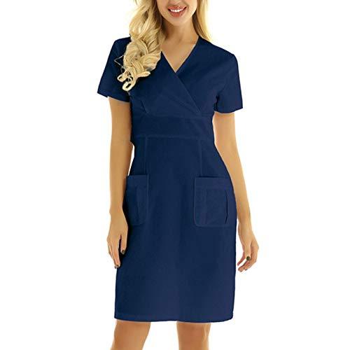 YANFANG Vestido Ajustado Mujer, Vestido de Bolsillo sólido de Uniforme de Trabajo sólido con Cuello en V de Manga Corta Informal para Mujer, S,Dark Blue