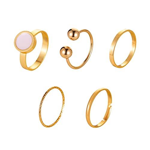 Yienate Juego de anillos de nudillos dorados estilo bohemio, apilables, con banda abierta, anillos de dedo índice, para mujeres y niñas (5 unidades)