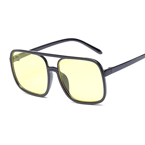 Gafas de Sol Vintage Gafas de Sol Mujeres Gafas de Sol de Gran tamaño Mujeres Tonos Rosadas de Lentes Negras Gafas UV400 Gafas de Moda Gafas de Sol (Lenses Color : Black Yellow)