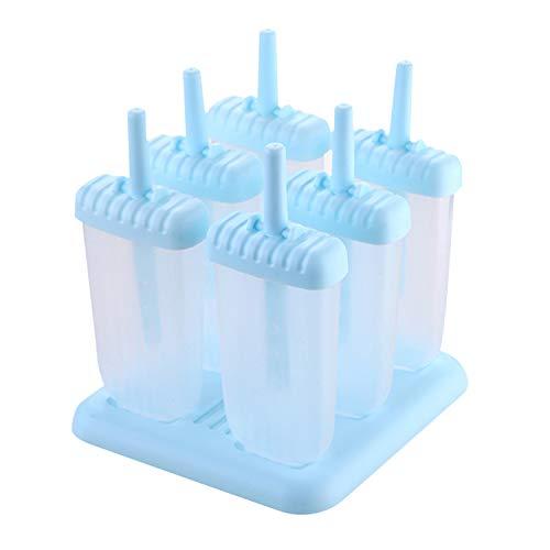 Eisformen 6 Eisformen Popsicle Formen Set, EIS am Stiel Bereiter, LFGB Geprüft und BPA Frei, mit Reinigungsbürste und Falttrichter (5.5cm, Hellblau)