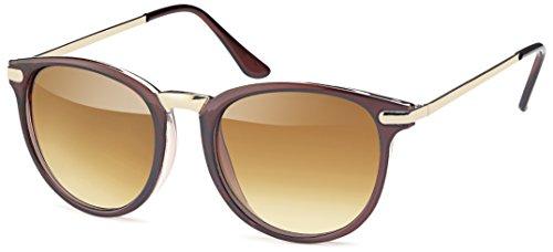 Vintage Sonnenbrille im angesagten 60er Style mit trendigen bronzefarbenden Metallbügeln Panto - Retro Brille (braun-gold-Verlauf)