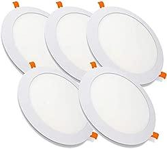 Pack de 5 Paneles LED Redondos ECOMAX · Downlight LED para Encastrar Extrafino de 20W con 2000 Lúmenes · 4500K Luz Blanca Neutro · LED con 225mm de diámetro · 2 Años de Garantía [Clase Energética A++]