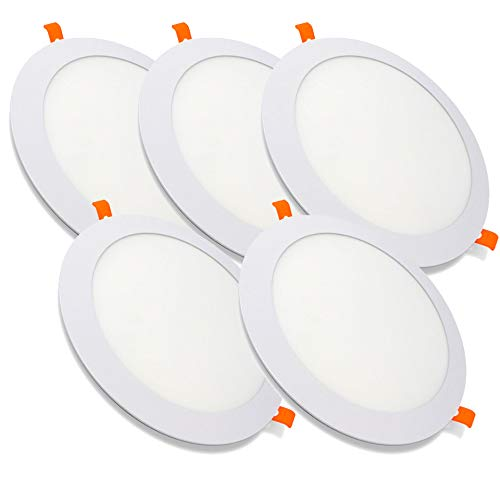 Pack de 5 Paneles LED Redondos ECOMAX · Downlight LED para Encastrar Extrafino de 20W con 2000 Lúmenes · 6000K Luz Blanca Fría · LED con 220mm de diámetro [Clase Energética A++]