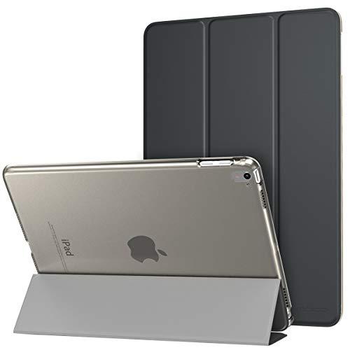 MoKo Hülle für iPad Pro 9.7 - PU Leder Tasche Schutzhülle Schale Smart Case mit Translucent Rücken Deckel, mit Auto Schlaf/Wach Funktion und Stanfunktion, Space Grau