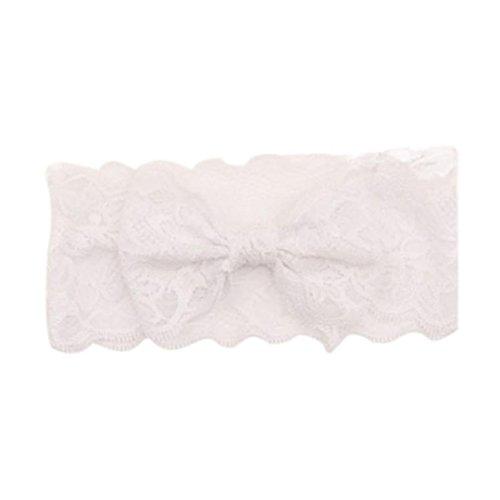 Huhu833 Mädchen Spitze Big Bow Haarband Baby Head Wrap Band Zubehör (Weiß)