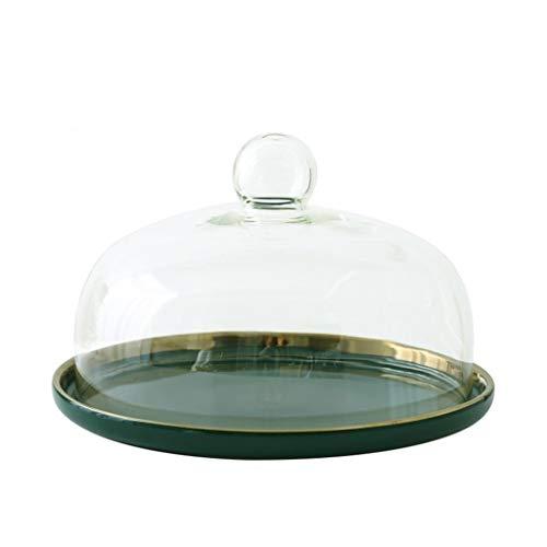 Steak Teller Haushaltslebensmittelkonservierung-Cover, Falafel Glaskuppel Keramik Dessert Steak-Platte Hotel-Dekoration Donut Tray 08.06 / 10Inch Salat Platte ( Color : 25.2*25.2*17.6CM )