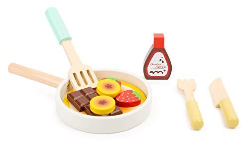 small foot company- Set para Cocina Infantil Pancakes,con sartén,espátula, Cuchillo y Tenedor, así como Ingredientes, a Partir de los 3 años Juguetes, Multicolor (11467)