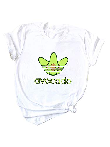 Romacci Damen Baumwolle T-Shirt Avocado Brief Drucken Kurzarm Oansatz Lustige Nette T Tops