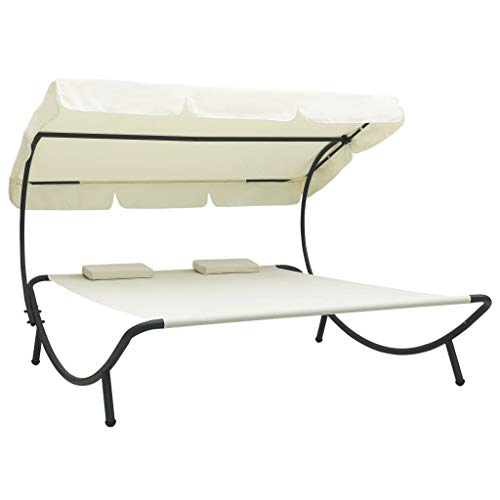"""vidaXL Chaise, Outdoor Lounge Bed with Canopy and Headrest Pillow, Patio Sunbed Hammock Lounger, Cream White, Lying Area Size 78.7"""" x 57.1"""""""