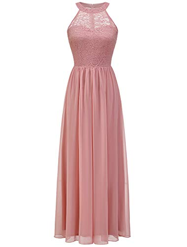 WedTrend Damen Spitzenkleid Brautjungfer Kleid Lang Chiffon Abendkleid Party Cocktailkleid Neckholder Sommerkleid WT0201 Blush XL