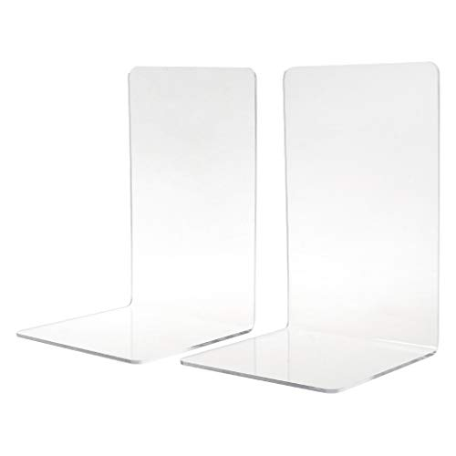 Huiouer - 2 sujetalibros de acrílico transparente en forma de L para escritorio, libro, escuela, papelería, suministros de oficina