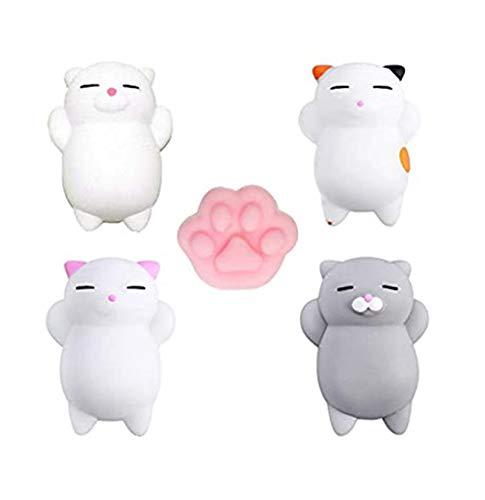 Yakiki 5Pcs Squishys Kawaii Juguetes Pegajosos Oso Panda Gato de Silicona Animales Squishies