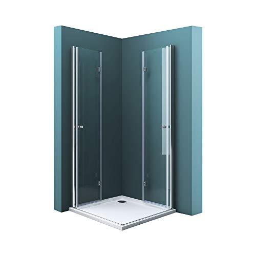Mai & Mai Mampara de ducha plegable 75x100x190 mampara de ducha transparente...